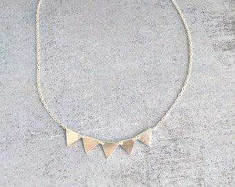 Triangle necklace sterling silver, Geometric dainty choker necklace