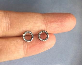 Tiny circle Mens stud earrings, aged sterling silver,  Male earrings, Unisex, Emo, Mens earrings, Gift for men, Gift for him,