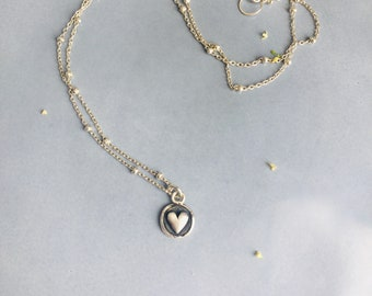 Dainty heart necklace gift for mom, Heart choker best friend gift, Sterling silver heart pendant necklace sister gift