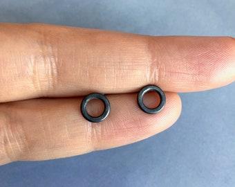 Circle Mens stud earrings, Black sterling silver,  Male earrings, Unisex, Emo, Mens earrings, Gift for men, Gift for him