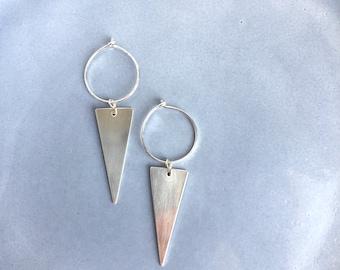 Triangle hoop earrings, hoop earrings with charm, large hoop earrings, spike earrings, arrow earrings, sterling silver earrings.