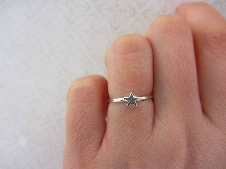 Pretty Ring Silver Star Ring Simple Everyday Jewellery Hammered Star Ring Sterling Silver Stacking Ring