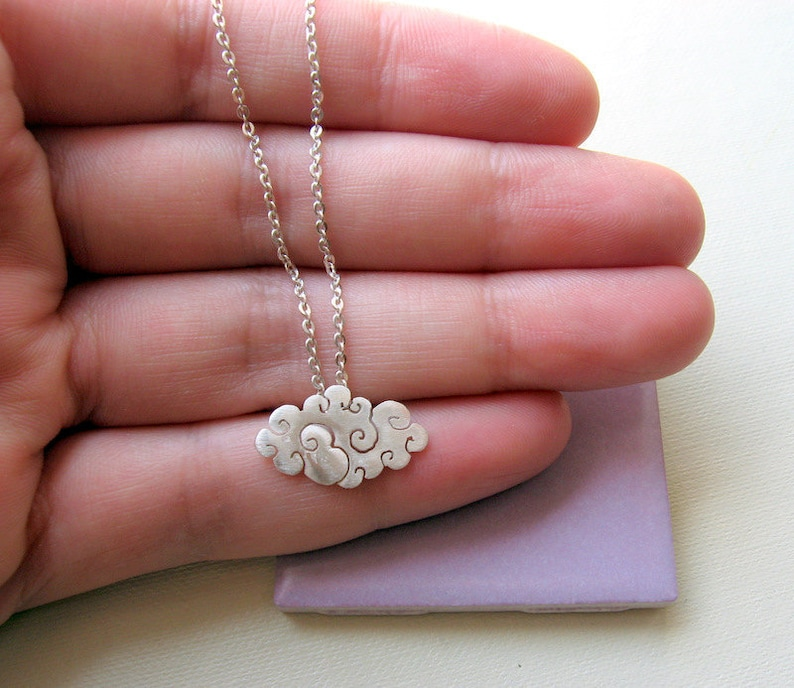 Sterling silver cloud necklace Christmas gifts Silver rain necklace Secret santa Silver cloud pendant