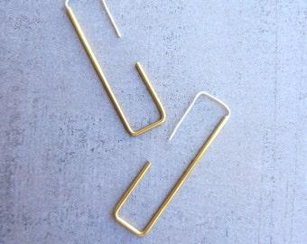 Rectangle gold brass hoop simple modern long wire earrings, Rectangle earrings, Square earrings, Modern earrings, Geometric, gift for women