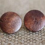 Dark Wood Earrings   Simple Wooden Stud Earrings   Dark Brown Wood Earring Studs   Wood Bead Jewelry
