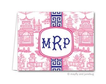 Pink Chinoiserie Personalized Monogram Folded Notes
