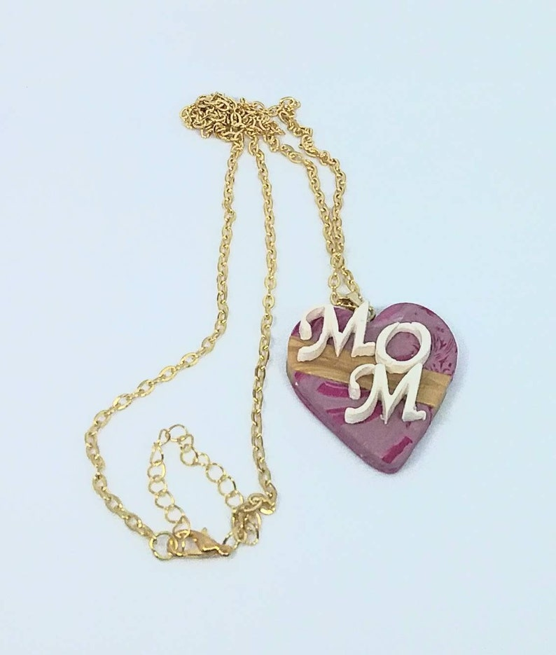MOM Necklace in Marbled Pink and Gold Polymer Clay on Gold Tone Stainless Steel Chain with Lobster Claw Clasp