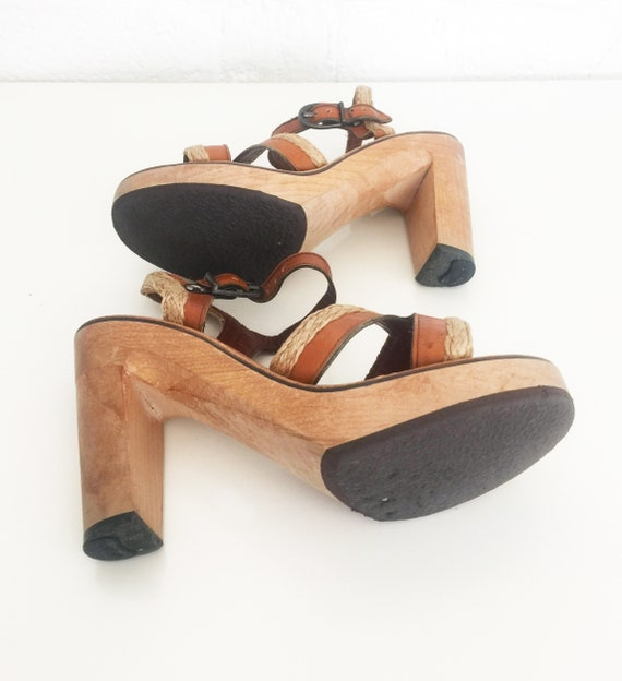 fc0eb1c96c1bf 1970s Heels Leather Sandals Vintage Wood Platform Shoes Clogs Bare ...