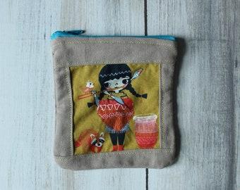 Organic Flute Girl Small Zipper Pouch/ organic change purse/organic coin purse