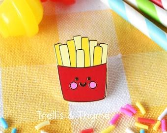 Enamel Pin - Little Fries Enamel Pin, Kawaii French Fries Enamel Pin, Fast Food Enamel Pin, Kawaii Burger, Fries, Shake Enamel Pin