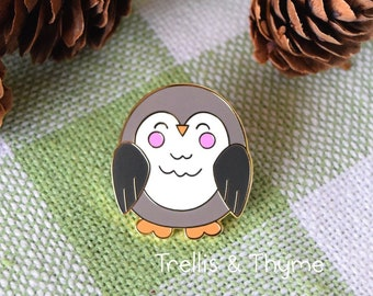 Enamel Pin - Little Owl Enamel Pin, Kawaii Owl Enamel Pin, Woodland Critter Enamel Pin, Kawaii Bird Enamel Pin