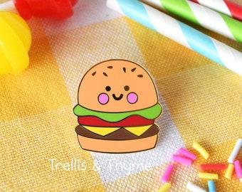 Enamel Pin - Little Burger Enamel Pin, Kawaii Hamburger Enamel Pin, Fast Food Enamel Pin, Kawaii Burger, Fries, Shake Enamel Pin