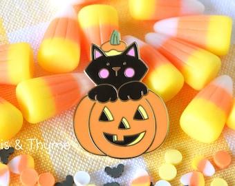 Enamel Pin - Tricks or Treats Black Cat Enamel Pin, Kawaii Halloween Enamel Pin, Cute Jack O Lantern Enamel Pin, Kawaii Cat Enamel Pin