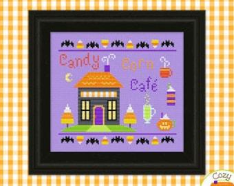 PDF Pattern - Candy Corn Cafe Cross Stitch Pattern, Halloween Sampler Cross Stitch Pattern, Halloween Spooky Cross Stitch Pattern