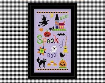 PDF Pattern - Spooky Sampler Cross Stitch Pattern, Halloween Sampler Cross Stitch Pattern, Halloween Spooky Cross Stitch Pattern