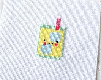 PDF Pattern - Sweet Little Lemonade Cross Stitch Pattern, Kawaii Lemonade Cross Stitch Pattern, Kawaii Embroidery Pattern