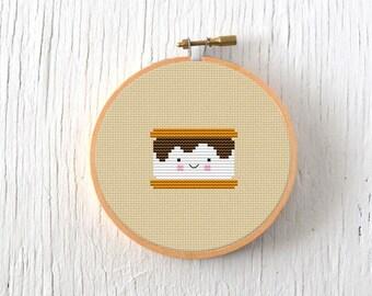 PDF Pattern - S'more Cross Stitch Pattern, Kawaii S'mores Cross Stitch Pattern, S'mores Embroidery Pattern