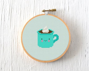 PDF Pattern - Hot Cocoa Cross Stitch Pattern, Kawaii Hot Cocoa Cross Stitch Pattern, Hot Cocoa Embroidery Pattern