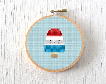 PDF Pattern - Rocket Pop Cross Stitch Pattern, Kawaii Rocket Popsicle Cross Stitch Pattern, Ice Cream Embroidery Pattern