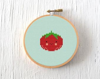 PDF Pattern - Little Tomato Cross Stitch Pattern, Kawaii Tomato Cross Stitch Pattern, Tomato Embroidery Pattern