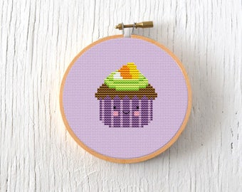 PDF Pattern - Halloween Cupcake Cross Stitch Pattern, Kawaii Cupcake Cross Stitch Pattern, Candy Corn Cupcake Embroidery Pattern
