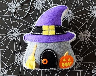 PDF Pattern - Spooky Cottage Ornament Pattern, Halloween Felt Ornament Pattern, Felt Softie Sewing Pattern