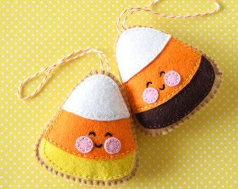 PDF Pattern - Candy Corn Cookie, Halloween Felt Ornament Pattern, Softie Pattern