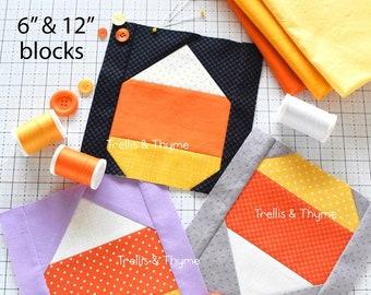 PDF Pattern - Candy Corn Quilt Block Pattern, Traditional Quilt Block Pattern, Halloween Quilt Block, October Quilt Block Pattern