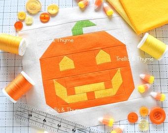 PDF Pattern - Jolly Jack O'Lantern Quilt Block Pattern, Halloween Quilt Block Pattern, Vintage Pumpkin Quilt Pattern, Jack O'Lantern Quilt