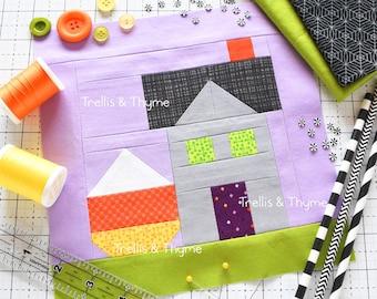 PDF Pattern - October Calendar Cottage Quilt Block Pattern, Candy Corn Quilt Pattern, Halloween Quilt Block Pattern, Haunted House Quilt