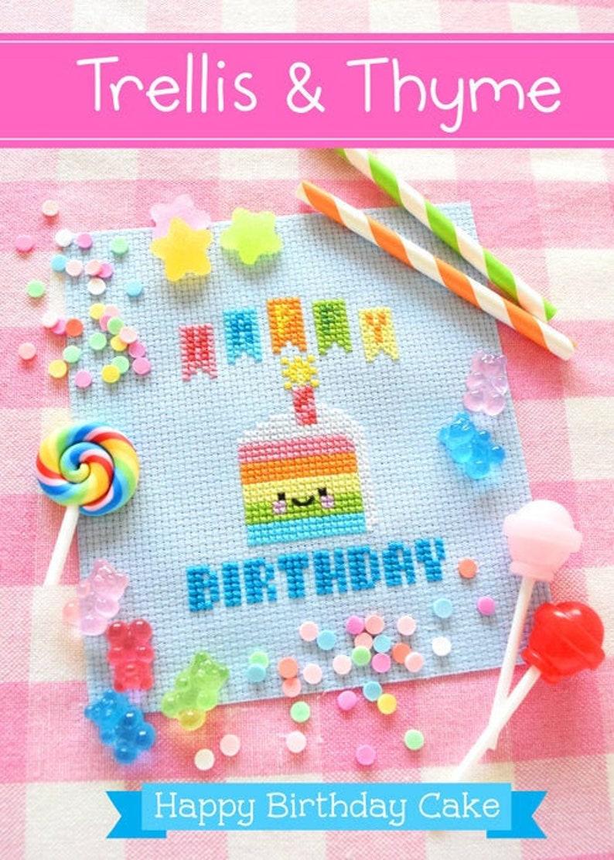 PDF Pattern  Happy Birthday Cake Cross Stitch Pattern Kawaii image 0