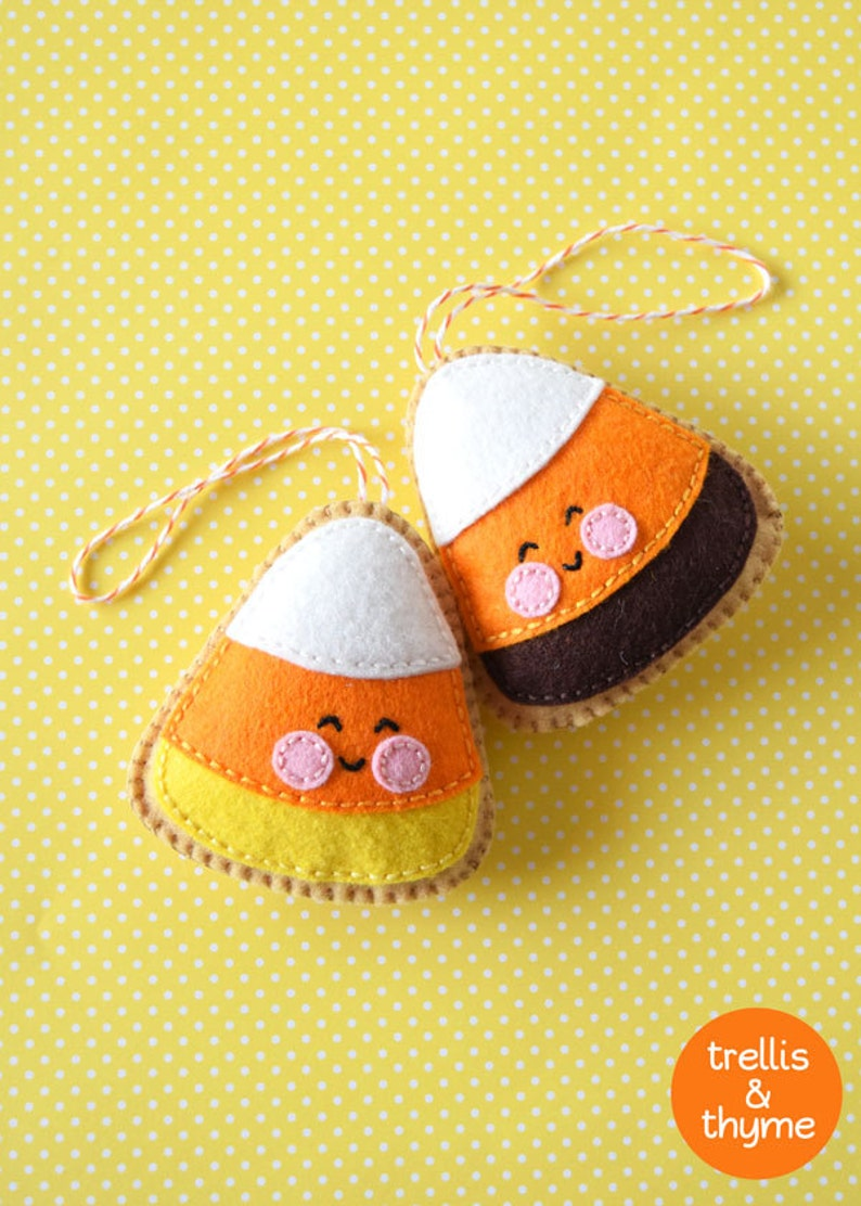 PDF Pattern  Candy Corn Cookie Halloween Felt Ornament image 0