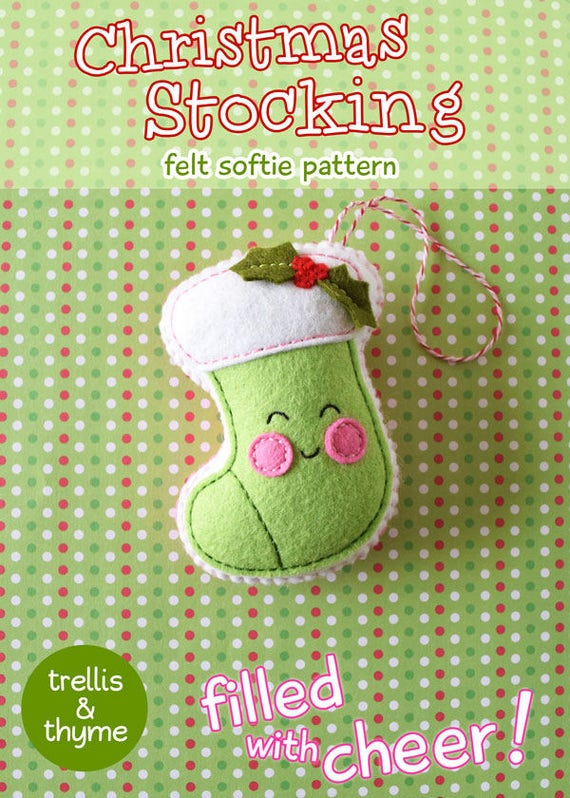PDF-Muster Weihnachts-Strumpf Filz Muster Kawaii Filz | Etsy