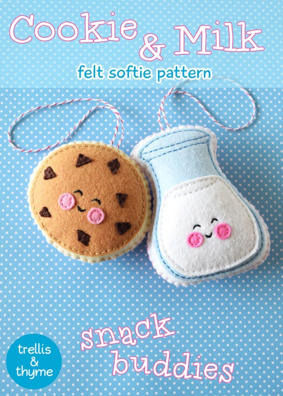 Patrón PDF galletas y leche fieltro patrón patrón de adorno