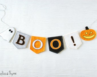 PDF Pattern - BOO! Halloween Felt Banner Pattern, Embroidery Felt Garland Pattern