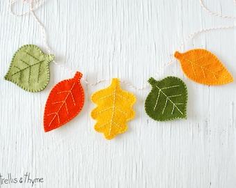 PDF Pattern - Autumn Leaves Felt Garland Pattern, Halloween, Thanksgiving Felt Embroidery Garland Pattern