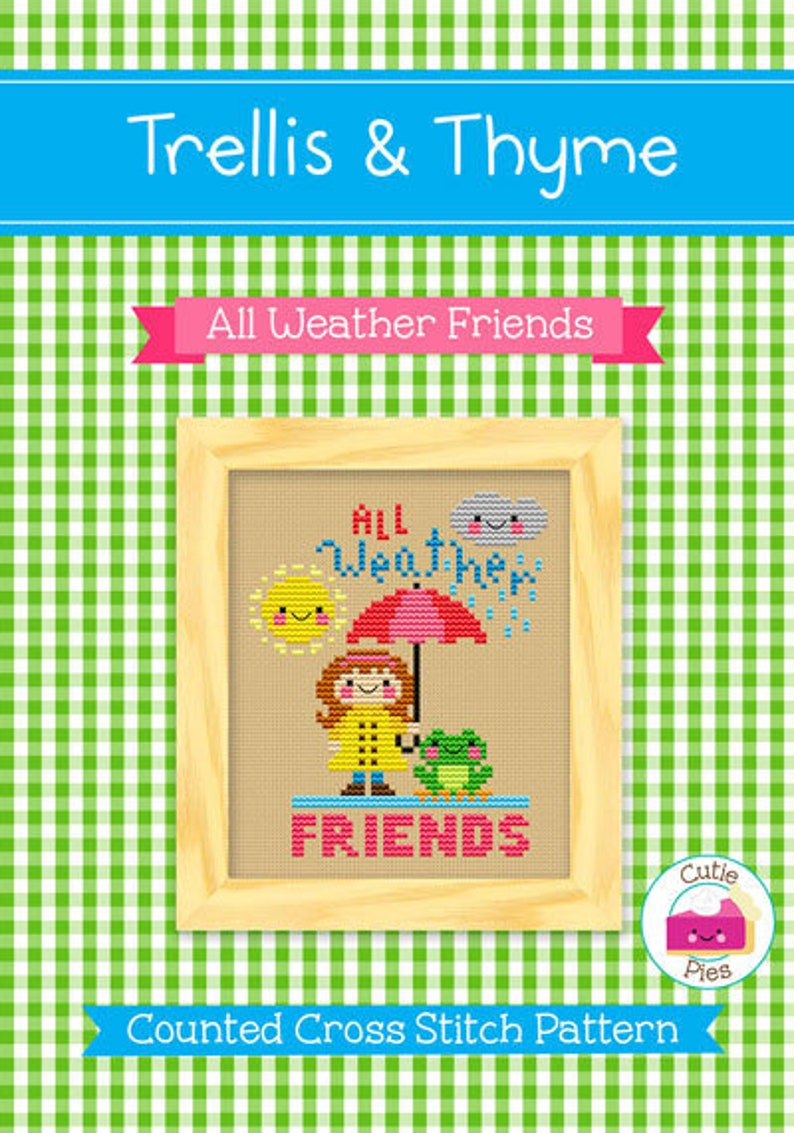 PDF Pattern  All Weather Friends Cross Stitch Pattern Kawaii image 0