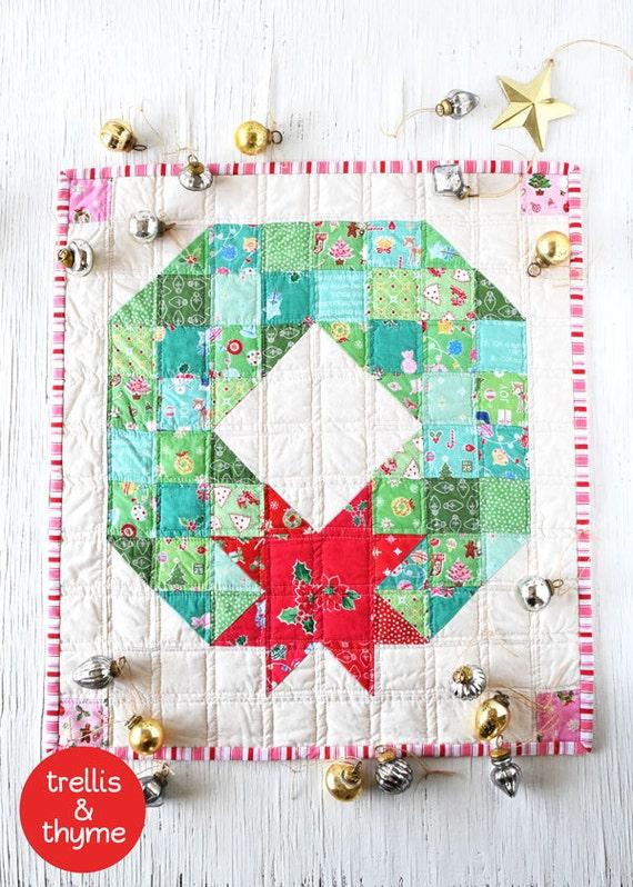 Pdf Pattern Merry Wreath Mini Quilt Pattern Christmas Mini Etsy