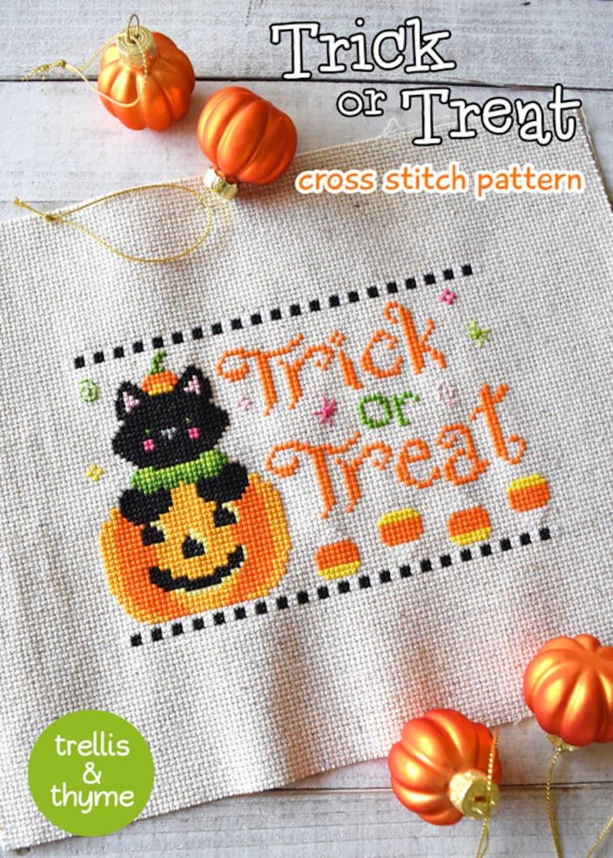 PDF Pattern  Trick or Treat Cross Stitch Pattern Halloween image 1