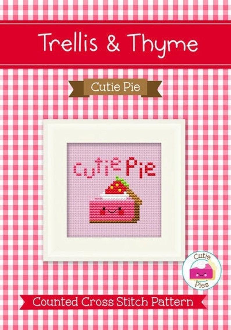 PDF Pattern  Cutie Pie Cross Stitch Pattern Kawaii Valentine image 0