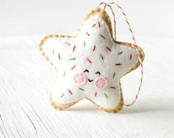 PDF Pattern - Sugar Cookie Star, Kawaii Christmas Ornament Pattern, Felt Softie Sewing Pattern, Felt Ornament Pattern