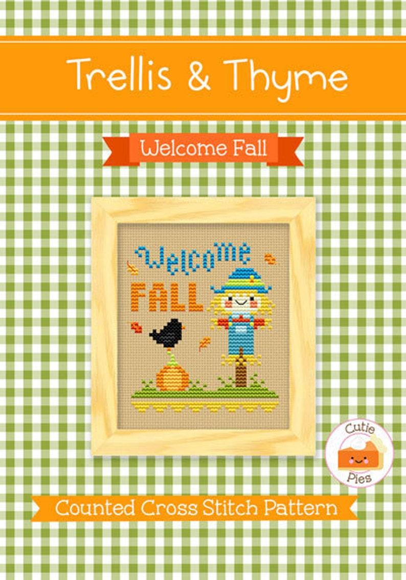 PDF Pattern  Welcome Fall Kawaii Cross Stitch Pattern Kawaii image 0
