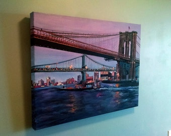 Original Oil Painting of Brooklyn Bridge - 24 x 18