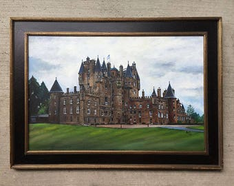 Original Glamis Castle - 36x24in Framed Oil Painting