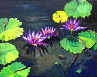 Lotus in Lily Pond - 14x11  Original Plein Air Oil Painting