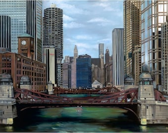 Chicago Oil Painting - 24x18in Giclee Print