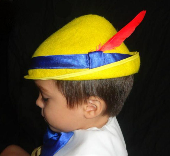 Custom Pinocchio Costume Hat Yellow Tyrolean Alpine Style Hat Etsy
