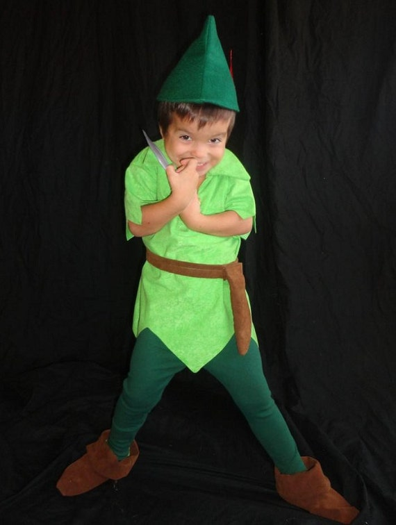 Peter Pan costume custom made Tyrolean felt hat red feather  9314216cc06