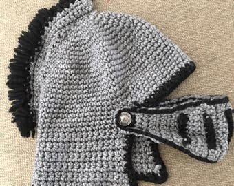 Knitted Knight Boys Helmet Gray and Black