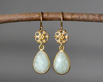 Amazonite Earrings - Gold Link Earrings - Amazonite Jewelry - Gold Bezel Earrings - Gold Dangle Earrings - Green Gemstone Earrings - Gift